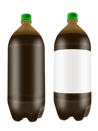 liter: Beer in two liter plastic bottles isolated on white background