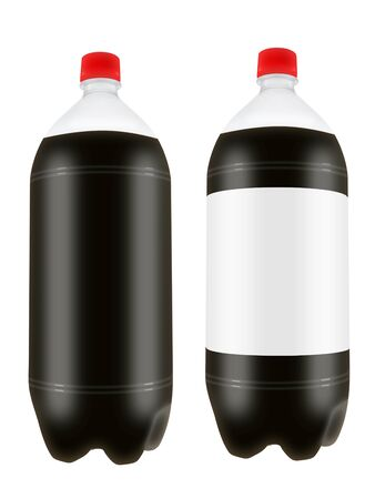 liter: Refreshing cola drink in two liter plastic bottles isolated on white background