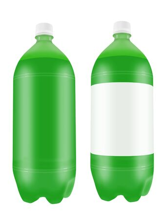 liter: Refreshing green soda drink in two liter plastic bottles isolated on white background