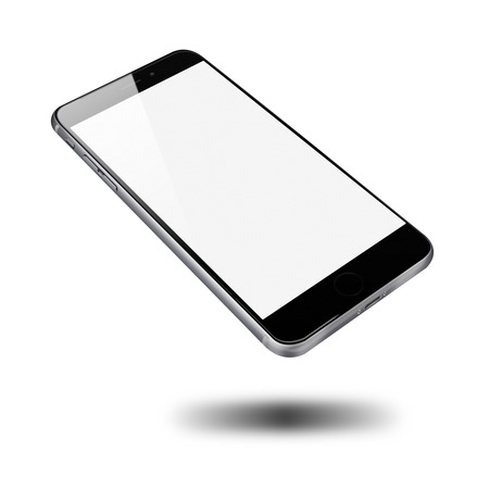 Realistic mobile phone with blank screen isolated on white background. Highly detailed illustration. Imagens - 41868972