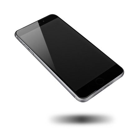 Realistic mobile phone with black screen and shadows isolated on white background. Highly detailed illustration. Stock fotó - 41868977