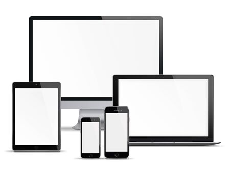 touchscreen phone: Computer monitor, mobile phone, smartphone, laptop and tablet pc with blank screen isolated on white background. Highly detailed illustration. Stock Photo
