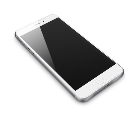 Realistic mobile phone with blank screen isolated on white background. Highly detailed illustration.