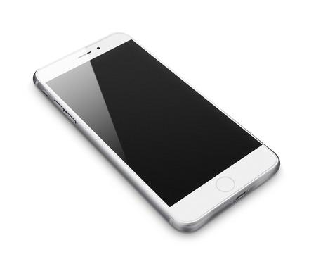 aislado: Teléfono móvil realista con la pantalla en blanco aislado en fondo blanco. Ilustración altamente detallada. Foto de archivo