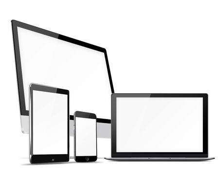 illustration isolated: Computer monitor, mobile phone, laptop and tablet pc with blank screen isolated on white background. Highly detailed illustration.