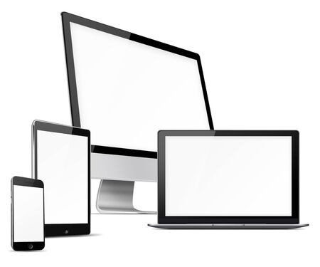 laptop mobile: Computer monitor, mobile phone, laptop and tablet pc with blank screen isolated on white background. Highly detailed illustration.