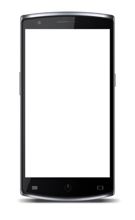 smartphone hand: Modern mobile phone with blank white screen and shadows isolated on white background. Highly detailed illustration.