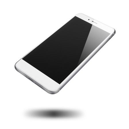 モダンな白い背景に分離された空白の画面携帯電話。非常に詳細なイラスト。