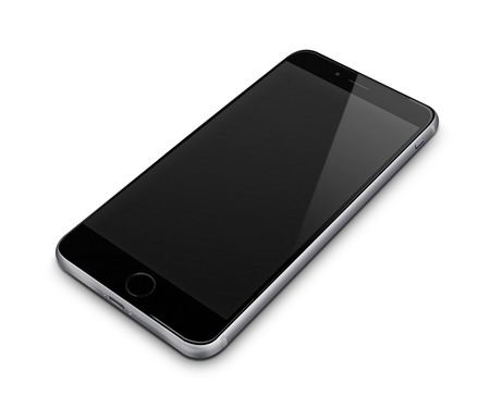 telephone: Realistic mobile phone with blank screen isolated on white background. Highly detailed illustration.