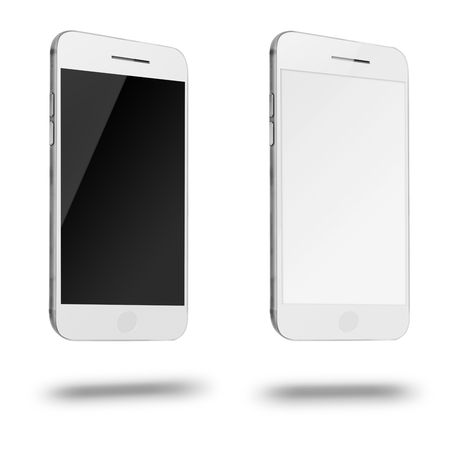 Mobile smart phones with white and blank screen isolated on white background