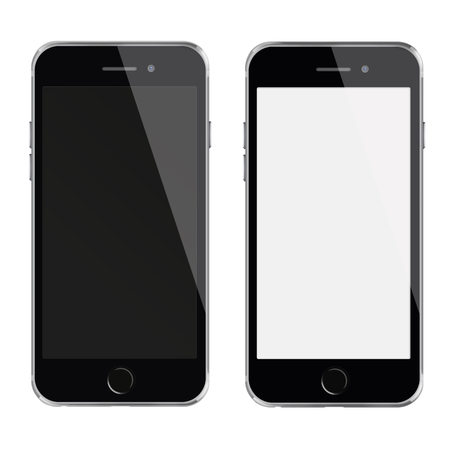 cellphone icon: Mobile smart phones with white and blank screen isolated on white background. Stock Photo