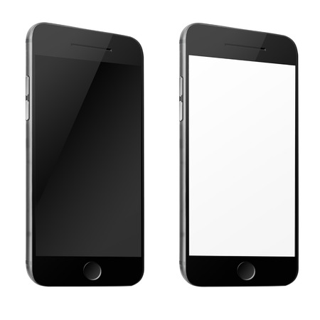 smart: Mobile smart phone with white and blank screen isolated on white background