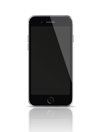 mobile phone screen: Mobile smart phone with black screen isolated on white background