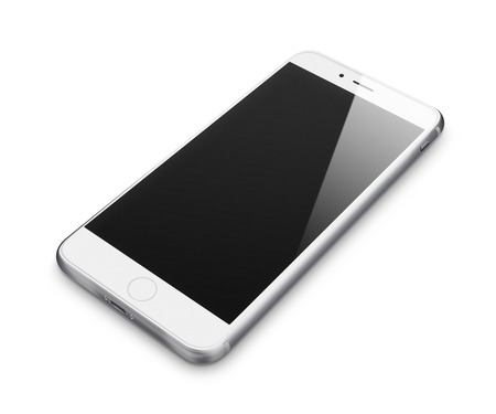 handphone: Realistic mobile phone with blank screen isolated on white background Stock Photo