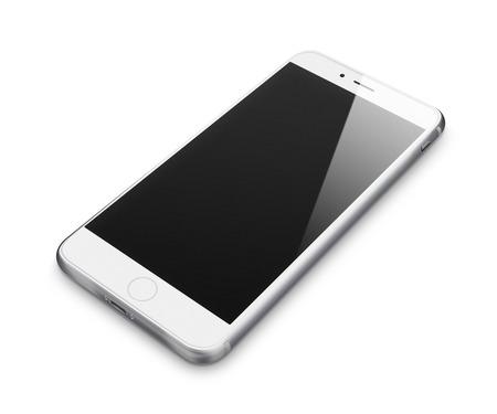 Realistische mobiele telefoon met een leeg scherm op een witte achtergrond