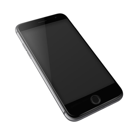 Mobile smart phone with black screen isolated on white background. Banco de Imagens