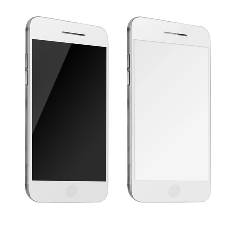 mobile phones: Mobile smart phones with white and blank screen isolated on white background