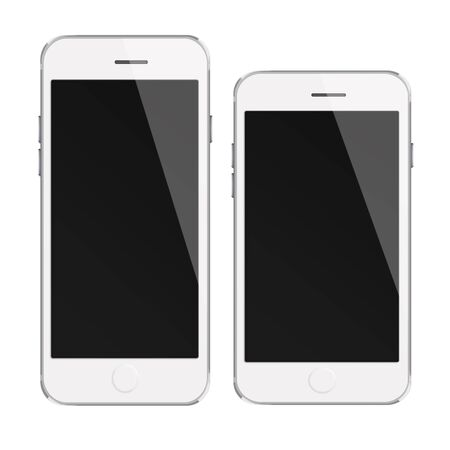 mobile phones: Mobile smart phones with black screen isolated on white background