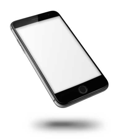 Mobile smart phone with black screen isolated on white background