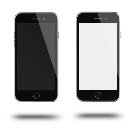touch screen phone: Mobile smart phone with white and blank screen isolated on white background