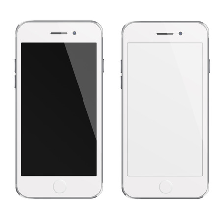blank computer screen: Mobile smart phones with white and blank screen isolated on white background