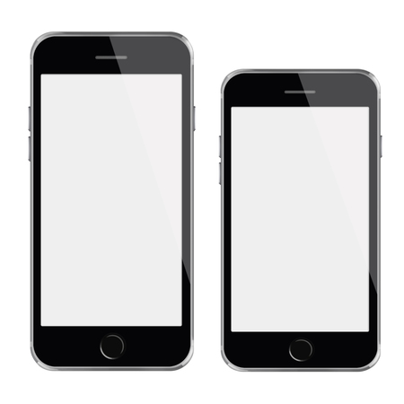 mobile phones: Mobile smart phones with white screen isolated on white background