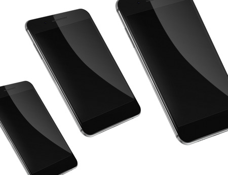 Mobile smart phones with black screens isolated on white background Stock Photo