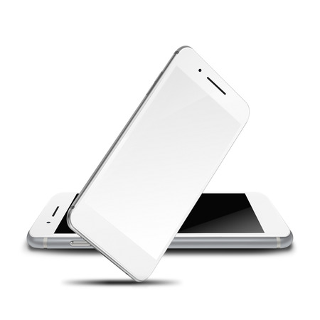 Mobile smart phones with black and blank screens isolated on white background. Highly detailed illustration.