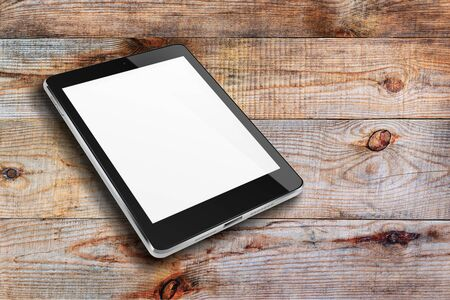 blank tablet: Tablet computer with blank screen on wooden background. Highly detailed illustration. Stock Photo