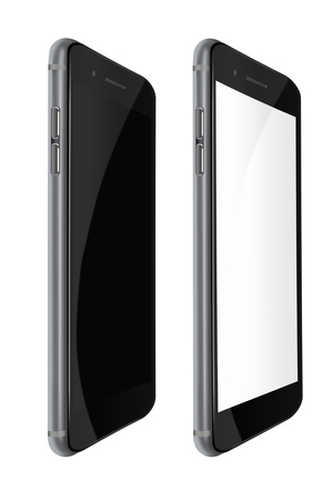 Fashionable phones realistic smartphones with black and blank screens isolated on white background. Highly detailed illustration.