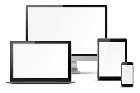 laptop mobile: Computer monitor, mobile phone, smartphone, laptop and tablet pc with blank screen isolated on white background. Highly detailed illustration. Stock Photo
