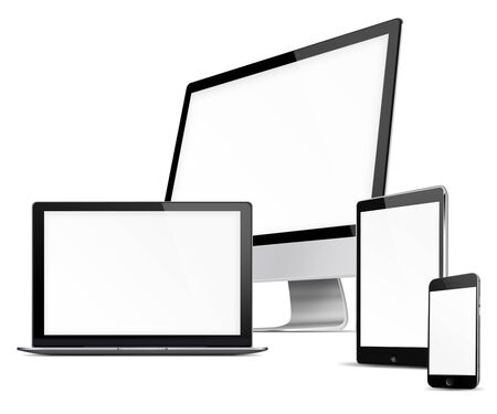 laptop screen: Computer monitor, mobile phone, laptop and tablet pc with blank screen isolated on white background. Highly detailed illustration.