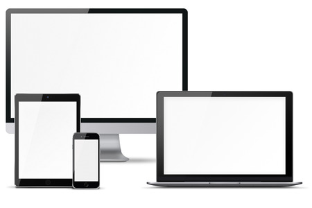 Computer monitor, mobile phone, smartphone, laptop and tablet pc with blank screen isolated on white background. Highly detailed illustration. Stock Photo