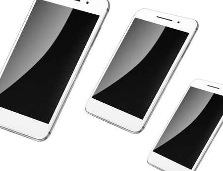 touch screen phone: Mobile smart phones with black screens isolated on white background. Highly detailed illustration.