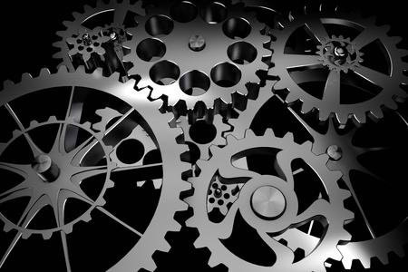 Technologiehintergrund aus Silber beschichtete Metallgetriebe und Zahnräder auf schwarz. Sehr detaillierte rendern. Standard-Bild - 48537475