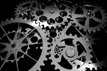 metal background: Technology background from siver metal gears and cogwheels on black. Highly detailed render.