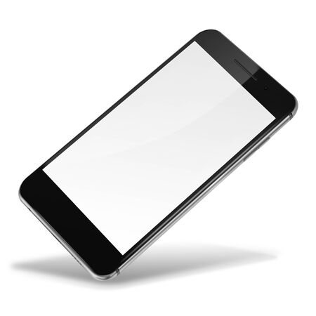 smart: Mobile smart phone with blank screen isolated on white background. Highly detailed illustration.