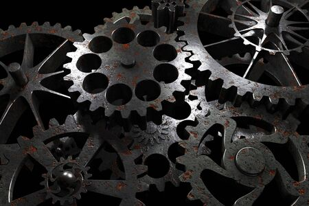 rusty metal: Technology background from rusty metal gears and cogwheels on black. Highly detailed render.