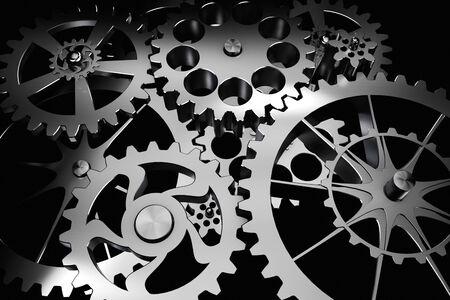 engranes: Antecedentes de la tecnología de engranajes de metal y ruedas dentadas en Siver negro. render muy detallada.