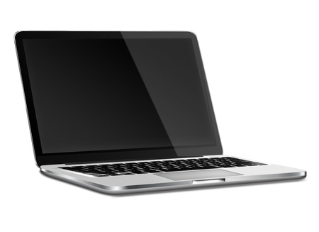 laptop screen: Laptop with black screen and shadows isolated on white background. Highly detailed illustration.