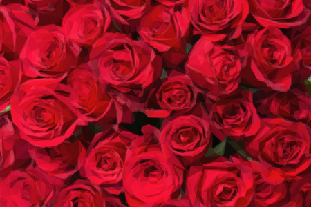 red rose bouquet: Romantic red roses background in low poly style. Low poly design triangular rose bouquet.