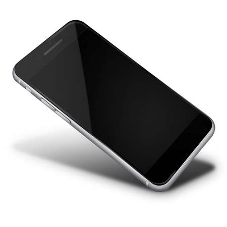 touch screen phone: Realistic mobile phone touch screen smartphone with black screen with shadows isolated on white background.