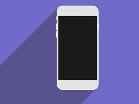 touch screen phone: Realistic mobile phone touch screen smartphone with black screen and long shadows. Flat design concept.