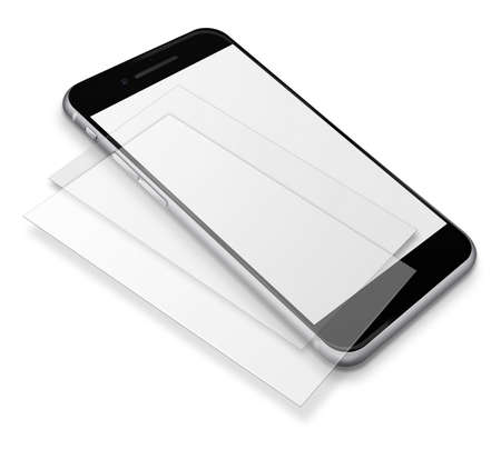 touch screen phone: Realistic mobile phone touch screen smartphone with blank screens and shadows isolated on white background. Stock Photo