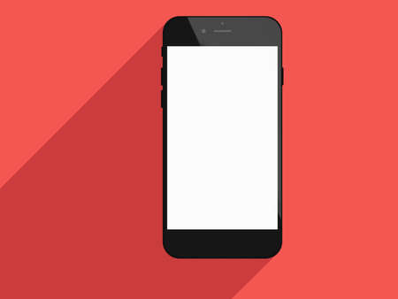 touch screen phone: Realistic mobile phone touch screen smartphone with blank screen and long shadows. Flat design concept.