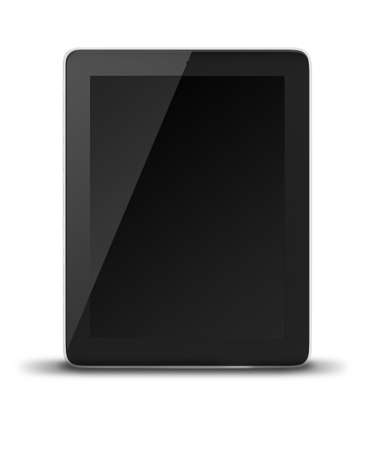 communicator: Realistic tablet pc computer with black screen isolated on white background.
