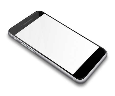 touch screen phone: Realistic mobile phone touch screen smartphone with blank screen with shadows isolated on white background.