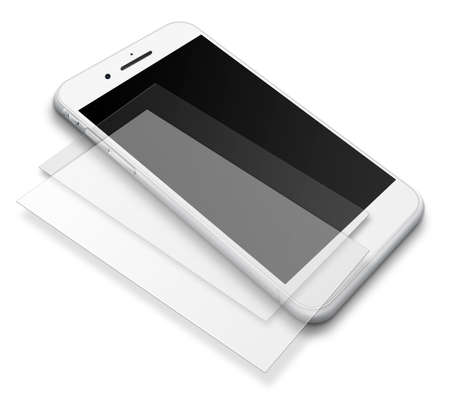 touch screen phone: Realistic mobile phone touch screen smartphone with blank and black screens and shadows isolated on white background.