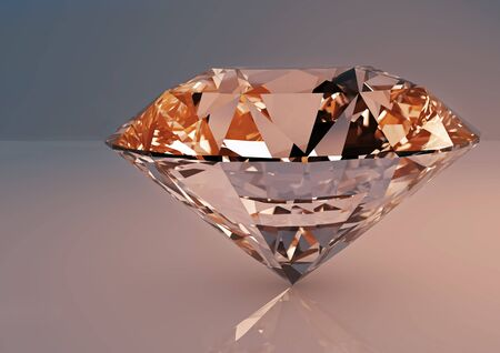 Large clear luxury diamond jewel with shadows and reflections on beige blue background. Detailed illustration. Stock Photo