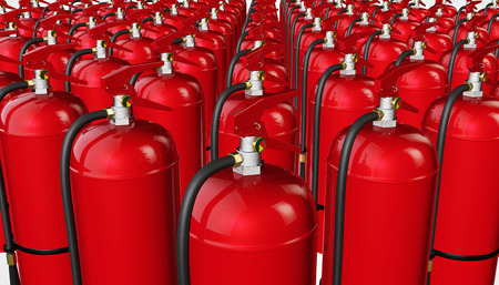 fire extinguishers: Background from fire extinguishers. 3D rendering. Stock Photo